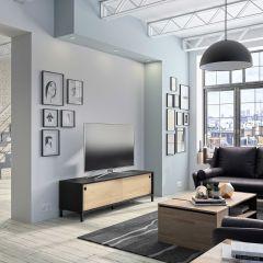 Tv-meubel Jonah met 2 schuifdeuren - kastanje/zwart