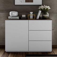 Dressoir Join 120cm met 1 deur en 3 laden - mat wit/walnoot