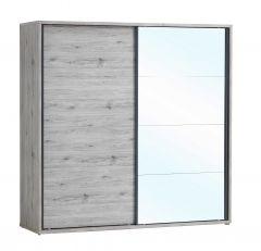 Kledingkast Forever 220cm met 2 schuifdeuren & spiegel - grijze eik