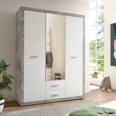 Kledingkast Storck 151cm 3 deuren & 2 lades & spiegel - beton/wit