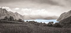 Canvas Iseomeer 33x70cm - zwart-wit & kleuraccent