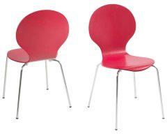 Set van 4 stapelbare stoelen Lucas - donkerrood/chroom