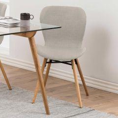 Set van 2 stoffen stoelen Tilda met schuine poten - zand/eik