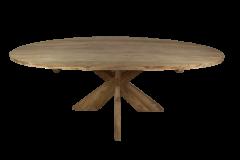 Ovale eettafel met kruispoot - 220x110 cm - blank - teak