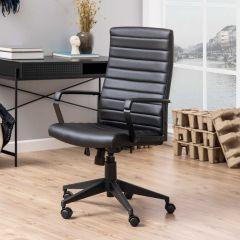 Bureaustoel Chivano lederlook - zwart
