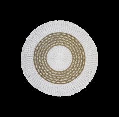 Vloerkleed - ø150 cm - raffia / zeegras - wit / naturel