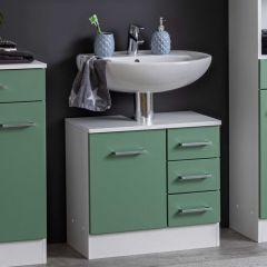 Wastafelonderkast Ricca 60cm 1 deur & 3 lades - wit/groen