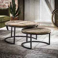 Set van 2 salontafels Semi industrieel - hardhout