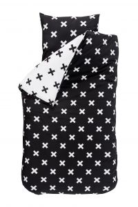 Dekbedovertrek Cross - zwart/wit