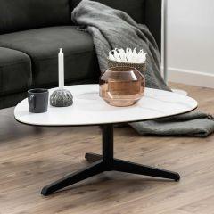 Salontafel Bartos 84x77 keramiek - wit/zwart