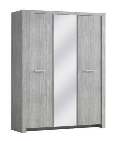 Kledingkast Heaven 160cm met 3 deuren & spiegel - grijze eik