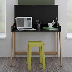 Bureau Aura 94cm - zwart/eik