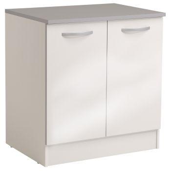 Onderkast Spoon 80 cm met 2 deuren - glossy white