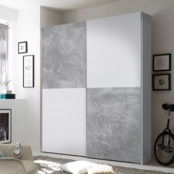 Kledingkast Wouter 170cm met 2 deuren - beton/wit