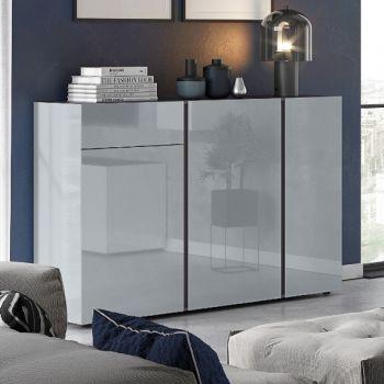 Dressoir Mussa 3 deuren & 1 lade 152cm - grafiet/zilvergrijs
