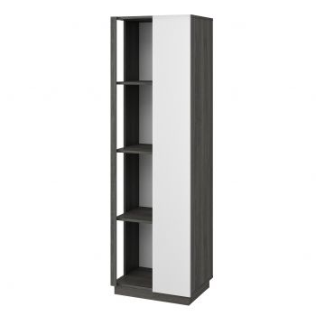 Vitrinekast Gaston 1 deur - zwart hout/wit