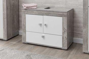 Wastafelonderkast Rutger 3 deuren - wit/beton