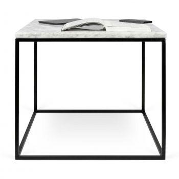 Bijzettafel Gleam 50x50 - wit marmer/staal