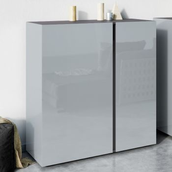 Commode Mussa 2 deuren 94 cm - grafiet/zilvergrijs