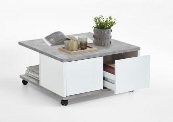 Salontafel Twiggy - beton/hoogglans wit