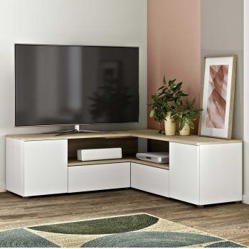 Tv-meubel Cleo 130cm - wit/eik