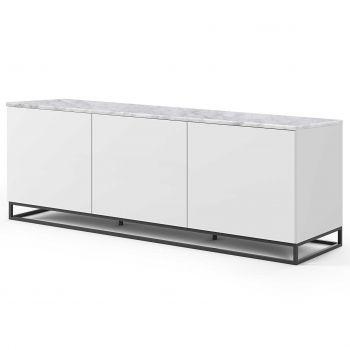 Dressoir Join 180cm laag model met metalen onderstel en 3 deuren - mat wit/wit marmer