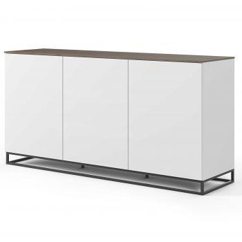 Dressoir Join 180cm hoog model met metalen onderstel en 3 deuren - mat wit/walnoot