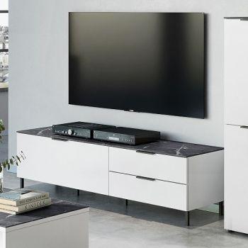 Tv-meubel Karsten 164cm - wit/marmer