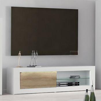 Tv-meubel Kaia 170cm - hoogglans wit/eik