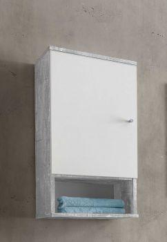 Hangkast Benja 1 deur - wit/beton
