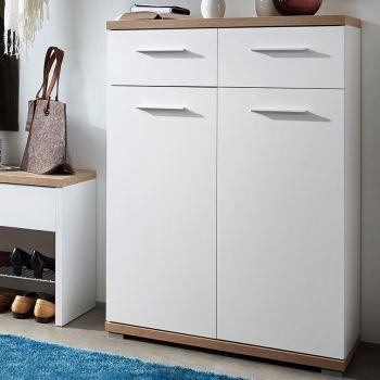 Schoenenkast Tosun met 2 deuren & 2 lades - wit/eik