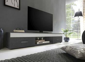 Tv-meubel Sami 2 laden 160cm - wit/grafietgrijs