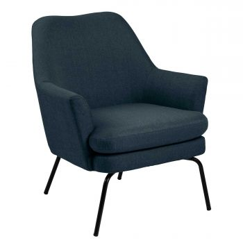 Fauteuil Sari stof - donkerblauw/zwart