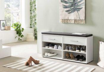 Schoenenkast Karin 2 laden met zitkussen - wit