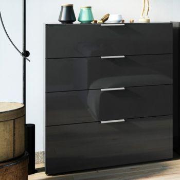 Ladekast Dudek 83cm met 4 lades - zwart