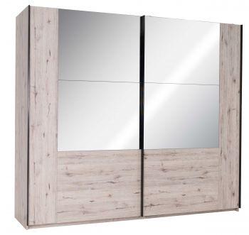 Kledingkast Paris 250cm met 2 schuifdeuren & spiegel - eik