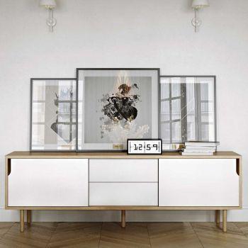 Dressoir Danny 201cm met lades & houten pootjes  - wit/eik