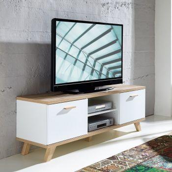 Tv-meubel Ousmane 144cm met 2 deuren & 1 legplank - wit/eik
