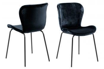 Set van 2 fluwelen stoelen Tilda - zwart