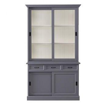 Buffetkast Vicenza met 4 deuren & 3 lades - grijs/wit