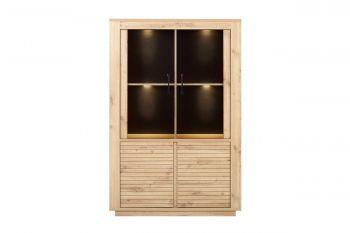 Vitrinekast Adrian 4 deuren - artisan eik (incl. ledverlichting)
