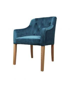 Armstoel Jersey - velours oceaanblauw