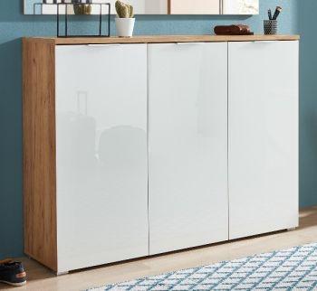Schoenenkast Tille 134cm met 3 deuren - wit/eik