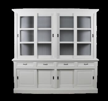 Buffetkast Provence 220cm met 8 deuren & 4 lades - wit/grijs