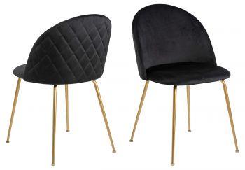 Set van 2 gestoffeerde stoelen Isa - zwart/koper
