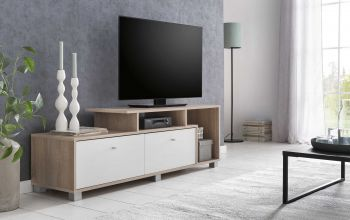 Tv-meubel Marly 140cm - wit/eik