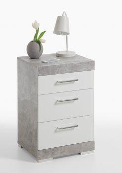 Nachtkastje Cristal 3 laden - beton/hoogglans wit