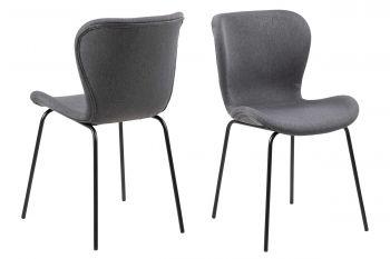 Set van 2 stoffen stoelen Tilda - donkergrijs/zwart