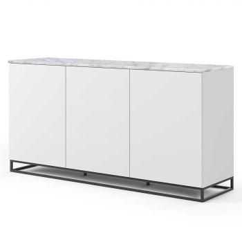 Dressoir Join 180cm hoog model met metalen onderstel en 3 deuren - mat wit/wit marmer