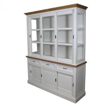 Buffetkast Provence 180 cm met 6 deuren & 3 lades - wit/natuureik